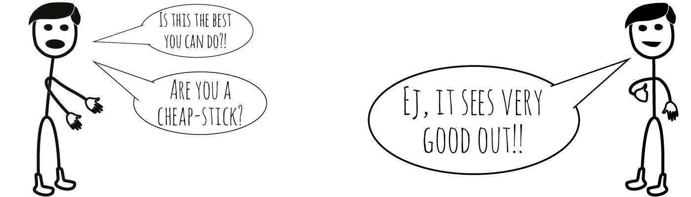 Billedet viser to tegnede mænd, som negge siger noget. Den ene taler om at være en nærrigpind, som er en dansk talemåde. De siger det på direkte oversat engelsk.