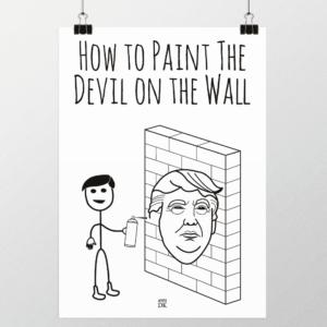 male fanden på væggen plakat