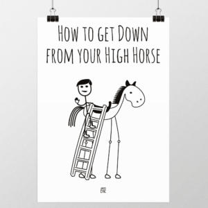 kom ned fra den høje hest plakat