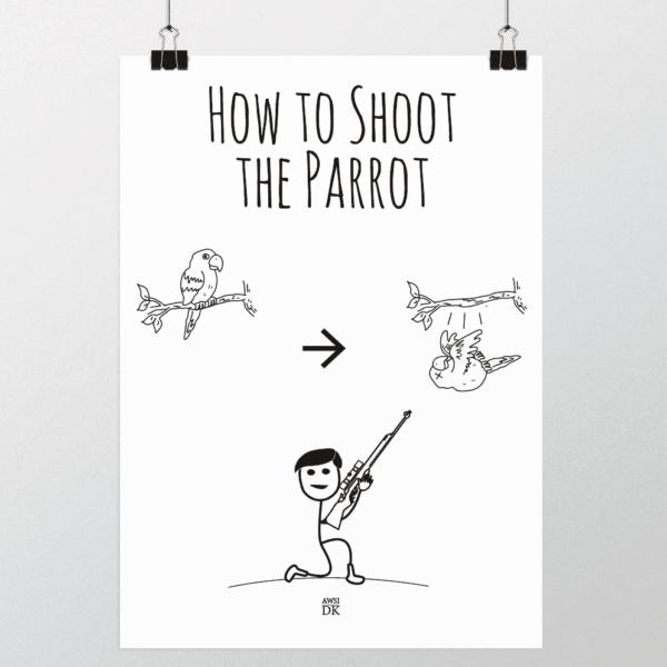 skyde papegøjen plakat